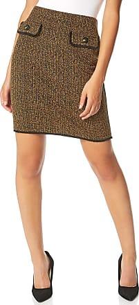 Roman Originals Women Two Tone Textured Skirt - Ladies Knee Length Mock Pocket Tweed Workwear Business Smart Casual Work Office Day Mini Fashion Pencil Tube Skirts -