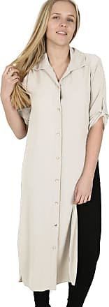 Parsa Fashions Womens Chiffon Crepe Buttons Collared Long Shirt Side Slit Roll Up Sleeves Kaftan Abaya Cocktail Vintage Maxi Dress Top (XX-Large, Beige)