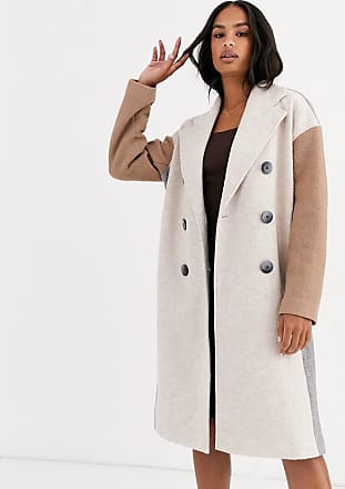 Y.A.S oversized colour block coat with button detail-Stone