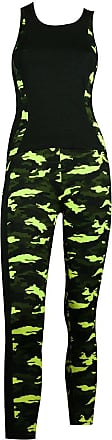 MySocks Womens Sportswear Leggings and Top matching Set Green Camo