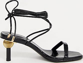 Z_Code_Z Exclusive Hila vegan ankle tie sandals with statement heel in black