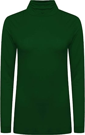 Crazy Girls New Womens Plain Turtle Polo Roll Neck Ladies Long Sleeve Stretch T-Shirt Tee Top (Bottle Green, 12-14)