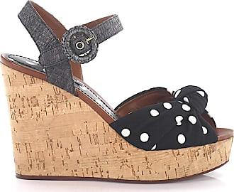 a1729b428ee6 Dolce   Gabbana Keilsandaletten Kalbsleder Kork Punkte schwarz-kombi weiß