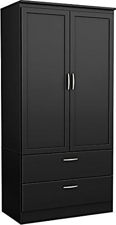 South Shore Furniture 5370038 2-Door Wardrobe Armoire with Adjustable Shelves and Storage Drawers, Pure Black