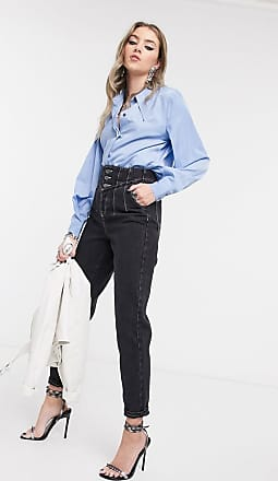 Object Shirt with extreme collar detail in blue-Multi