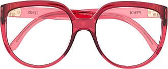 Fendi Armação de óculos redonda FF 0421 - Vermelho