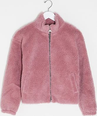 I Saw It First zip front borg jacket in pink