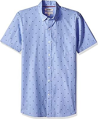 Goodthreads Mens Slim-Fit Short-Sleeve Dobby Shirt, -blue flower, Large