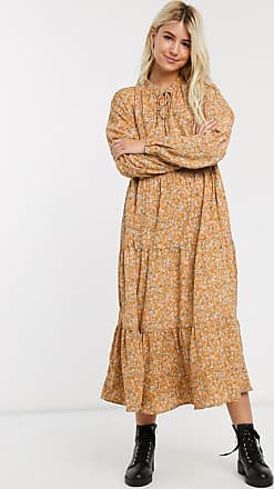 Pieces Abgestuftes Maxi-Hängerkleid mit floralem Design-Mehrfarbig