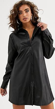 NA-KD Schwarzes Mini-Hemdkleid aus Kunstleder