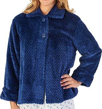 Slenderella Ladies Waffle Flannel Fleece Bed Jacket Button Up Traditional House Coat XXXL (Blue)