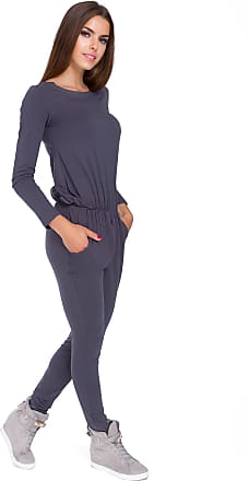 FUTURO FASHION Womens Boat Neck Long Sleeves Jumpsuit with Pockets Elasticated Waist 9002