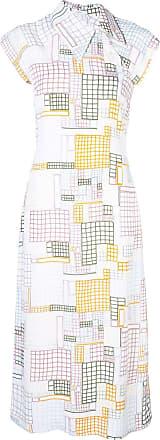 Rosetta Getty geometric print midi dress - Branco