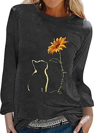 Dresswel Women You are My Sunshine Sunflower Cat Print T Shirt Long Sleeve Tops Pullover Blouses Black