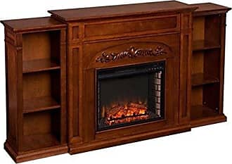 Southern Enterprises Chantilly Electric Fireplace with Bookcase, Autumn Oak Finish