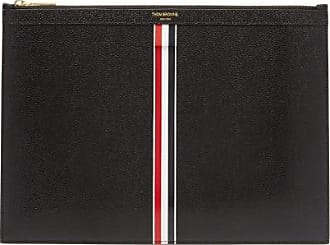 Thom Browne Pebbled-leather Tablet Pouch - Mens - Black