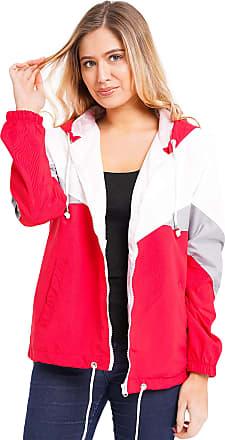 Noroze Women Hooded Panel Wind Breaker Jacket Summer Top (L, Red)
