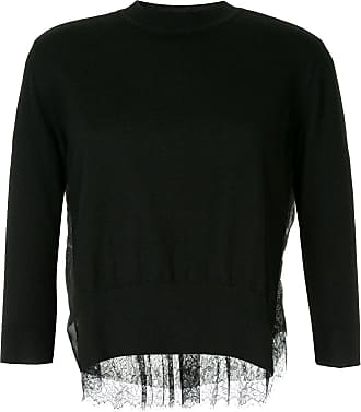 Onefifteen lace panel sweater - Black