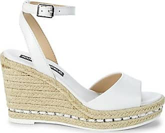 Karl Lagerfeld Carin Leather Espadrille Wedge Sandals