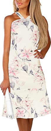 Yoins Women Sleeveless Halter Dress Floral Print Flounced Hem Sexy Bodycon Midi Dresses Party Cocktail Business