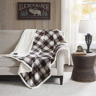 Woolrich Ridley Oversized Plaid Print Faux Mink to Berber Sherpa Warm Cozy Washable Electric Blanket Heated Throw with Auto Shutoff, 60 W x 70 L, Black/White