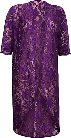 Purple Hanger Womens Floral Lined Lace Ladies Scallop Short Sleeve Long Open Kimono Cardigan Top Plus Size Purple 26-28