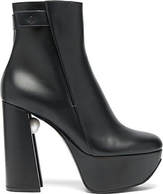 Nicholas Kirkwood Miri Faux Pearl-embellished Leather Platform Boots - Womens - Black