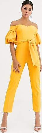 Asos Schulterfreier Jumpsuit mit Puffärmeln und Gürtel-Gelb