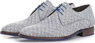 Floris Van Bommel Weißer Leder-Schnürschuh mit blauem Print, Business Schuhe, Handgefertigt