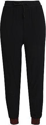 Zoe Karssen Zoe Karssen Woman Metallic-trimmed Crepe Track Pants Black Size XS