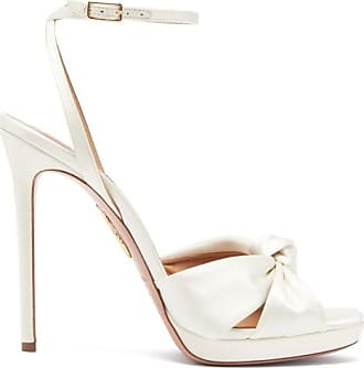 Aquazzura Chance Knotted Satin Sandals - Womens - Ivory
