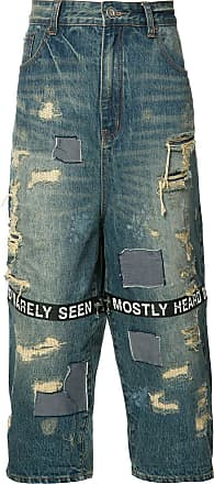 Mostly Heard Rarely Seen distressed cropped jeans - Blue