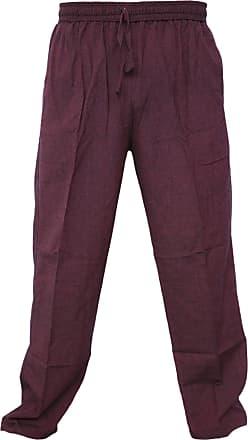 Gheri Mens Cotton Hemp Casual Lounge Trousers Maroon XXX-Large