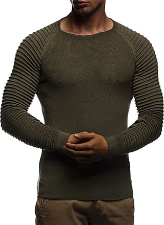 LEIF NELSON Mens Pullover Knit Sweater fine Knit Crew Neck LN-20729 Khaki X-Large