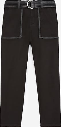 The Kooples Military black cotton trousers with belt - WOMEN