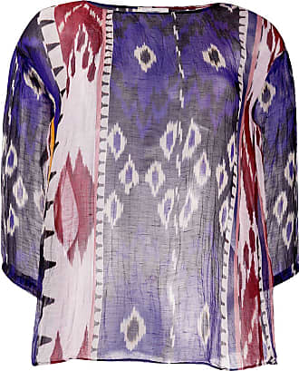 Forte_Forte patterned sheer tunic top - Blue