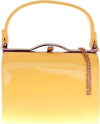 Girly HandBags Girly HandBags Patent Faux Leather Clutch Bag Top Handle Handbag - Yellow