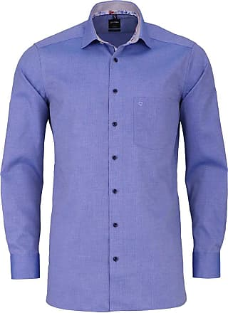 Olymp Olymp Luxor Modern Fit Shirt Long Sleeve Structure Smoke Blue - Blue - 15.5