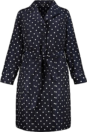 Ulla Popken Womens Plus Size Polka Dot Belted Lined Trench Coat Night Blue Multi 24/26 720035 70-50+