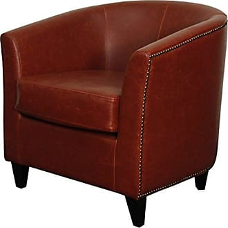 New Pacific Direct Orson Bonded Leather Tub Chair,Black Legs,Vintage Red