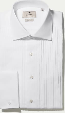 Hackett Mens Slim Fit Pleated Double Cuff Shirt   Size 150   White