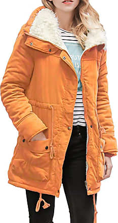NPRADLA Womens Warm Long Coat Collar Hooded Jacket Slim Winter Parka Outwear Coats Orange