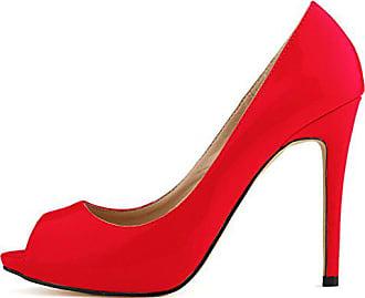 0ff6a63e87205f Aisun Damen Sexy PeepToe Stiletto Low Top High Heels Pumps Sandale Rot 39 EU