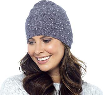 Foxbury Ladies Metallic Thread Beanie Hat with Sequins Grey