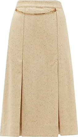 Victoria Beckham Belted High-rise Silk-blend Tweed Skirt - Womens - Cream