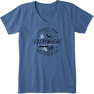 Life is good Womens Havent Been Everywhere Globe Crusher Vee XXXL Vintage Blue