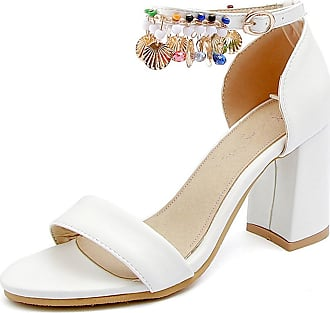 de97a9578fb Easemax Womens Retro Ankle Strap Mid Chunky Heeled Beaded Sandals for  Wedding (White