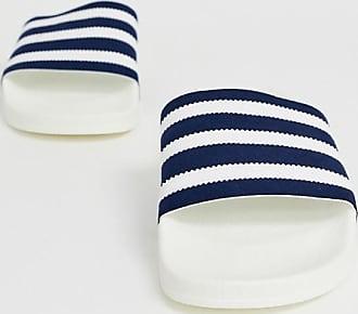 adidas Originals Adilette - Slider in Weiß-Marine