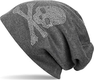 styleBREAKER Classic Beanie hat with Skull Rhinestone Detail, Unisex 04024034, Colour:Mottled Dark Grey, Material:Warm