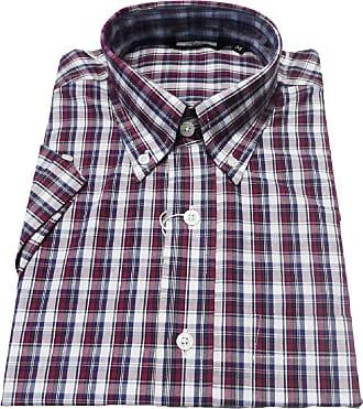 Relco Retro Classic Vintage Mod Button Down Short Sleeve Shirts Sizes S-3XL (Medium, Grey/Burg Check)